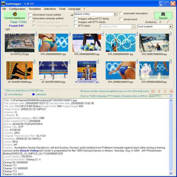 Kalimages software screenshot