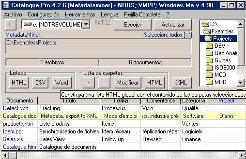 Click to view MetaDataMiner Catalogue PRO Spanish 4.2.20 screenshot