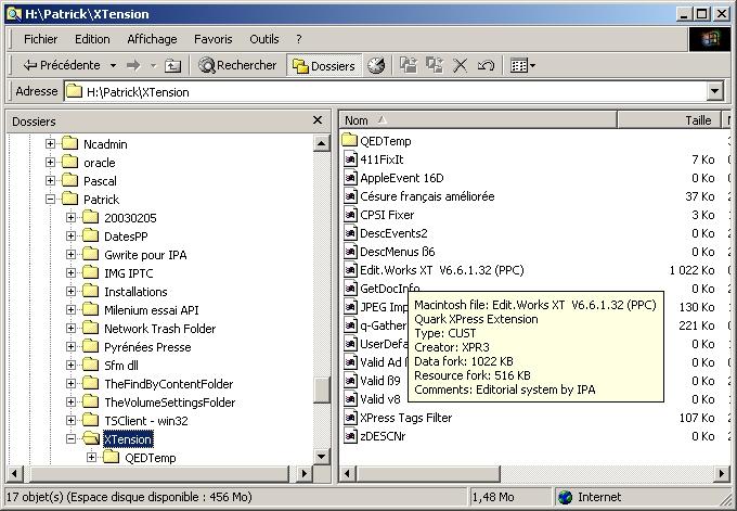 Shell extension for Windows 2000 or Windows XP allows you to display Macintosh files information in Windows Explorer tooltips - Type code, Creator code , Data fork size, Resource fork size and Comments