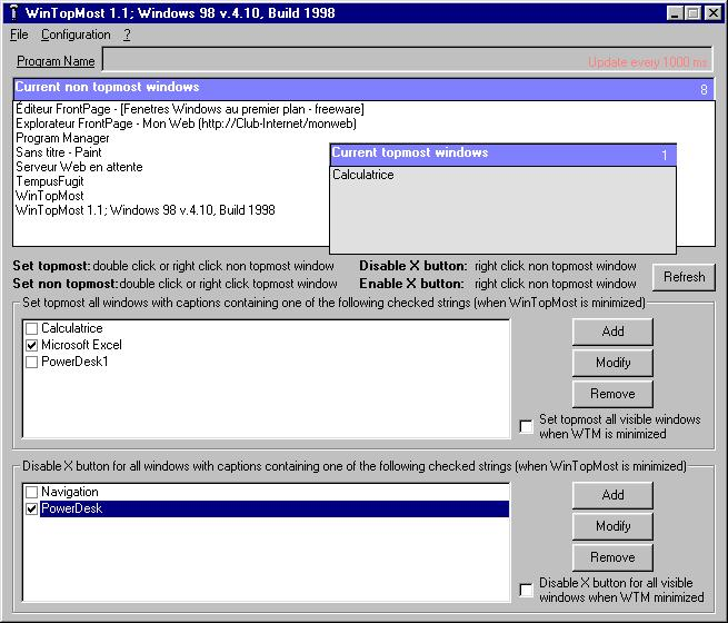 Click to view WinTopMost Site License 1.2.4 screenshot